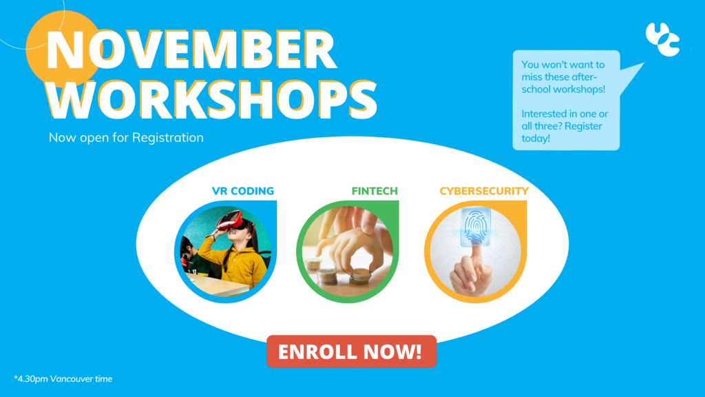 Image showing a picture for each workshops, VR Coding, Fintech and Cybersecurity
