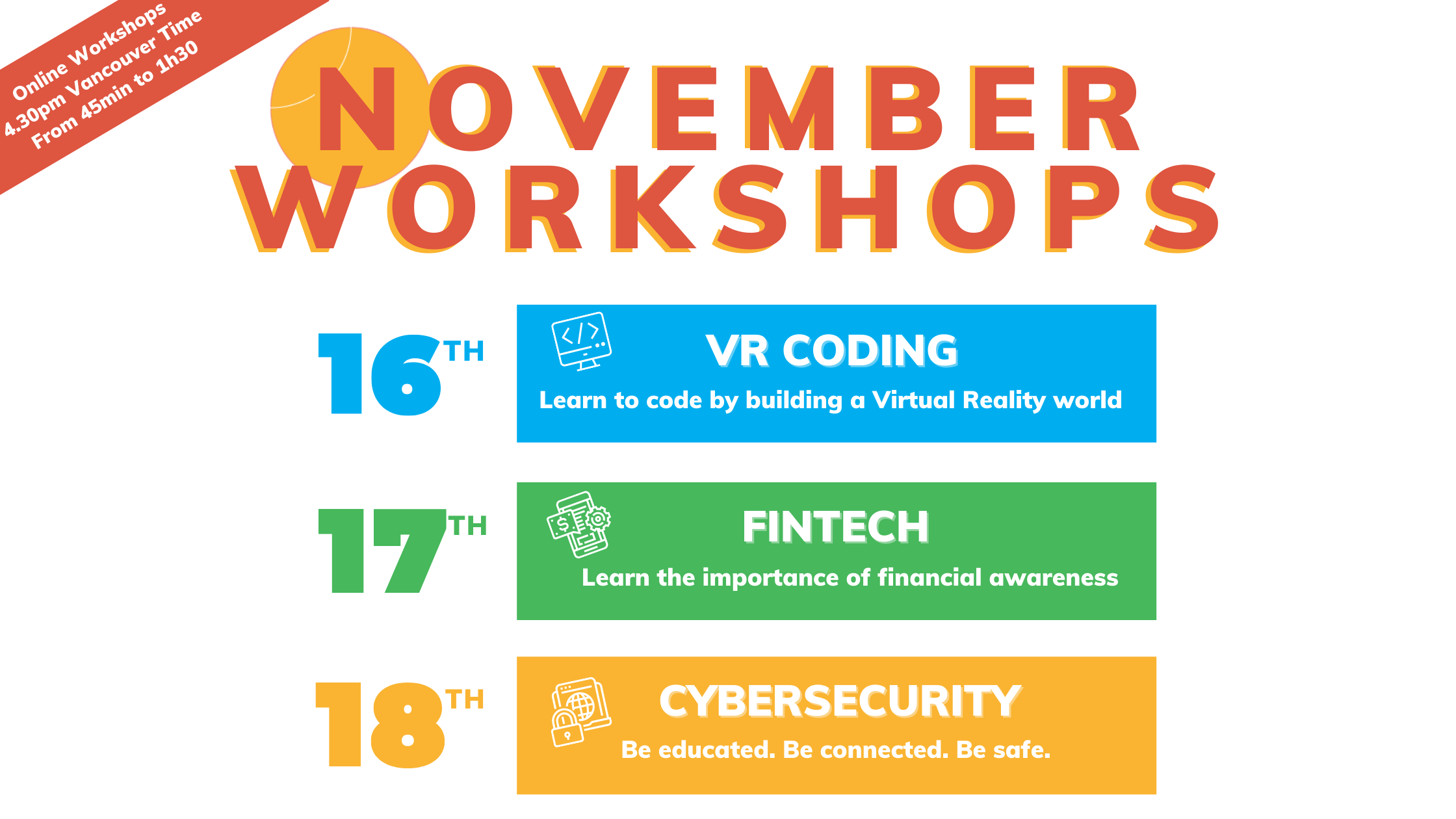 A banner to give the dates of the three upcoming workshops of The Urban Camp